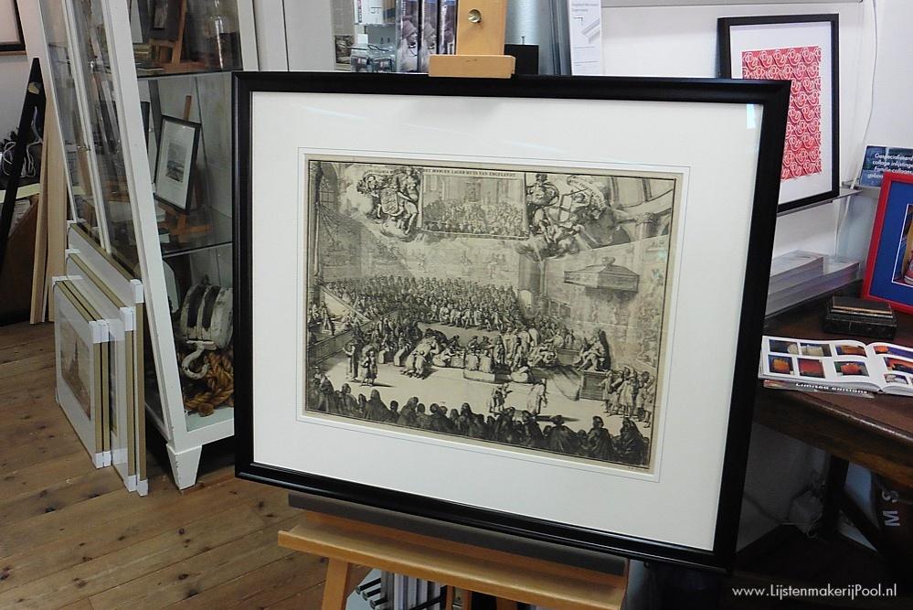 17e Eeuwse gravure Romeyn de Hooghe conserverend ingelijst. Lijstenmakerij Pool