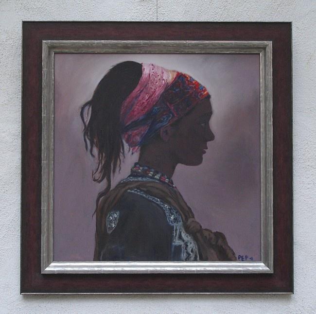 Ingelijst schilderij van de hand van Petra Keyl
