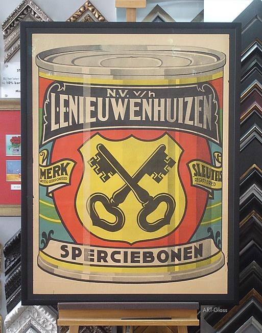 Antiek affiche conserverend ingelijst