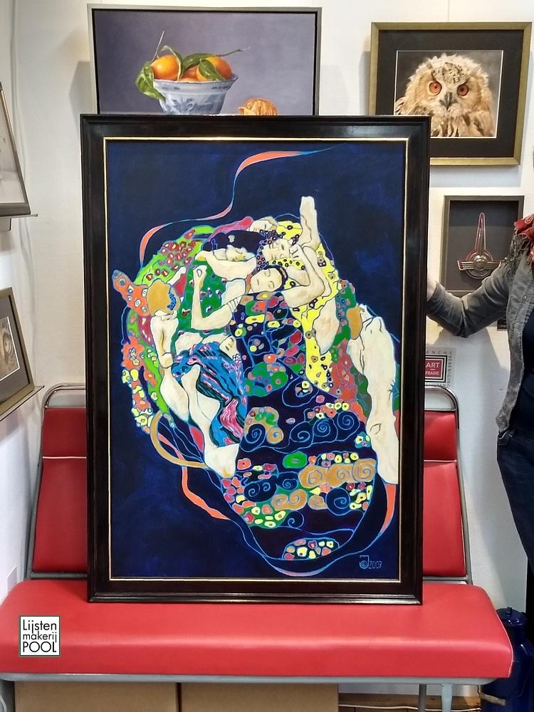Olieverfschilderij in handgekleurde atelierlijst Lijstenmakerij Pool Elburg
