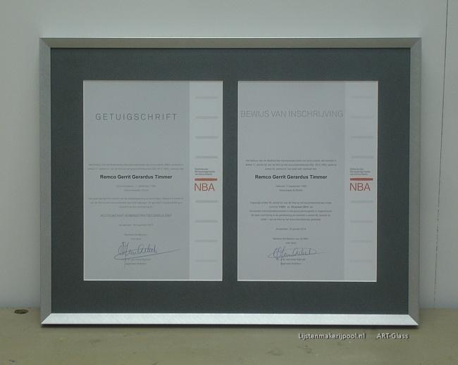 Certificaten ingelijst