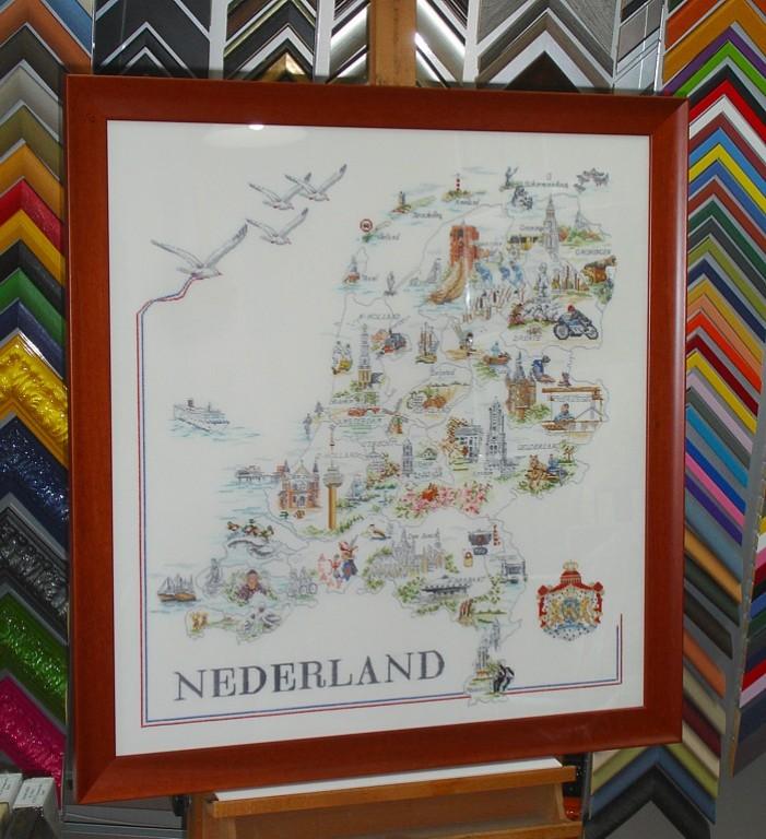 Borduurwerk kaart van Nederland