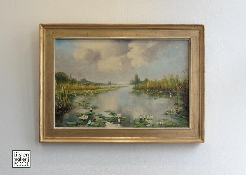 Schilderij Jan Dobber ingelijst met handgekleurde atelierlijst uit eigen atelier. Lijstenmakerij Pool Elburg
