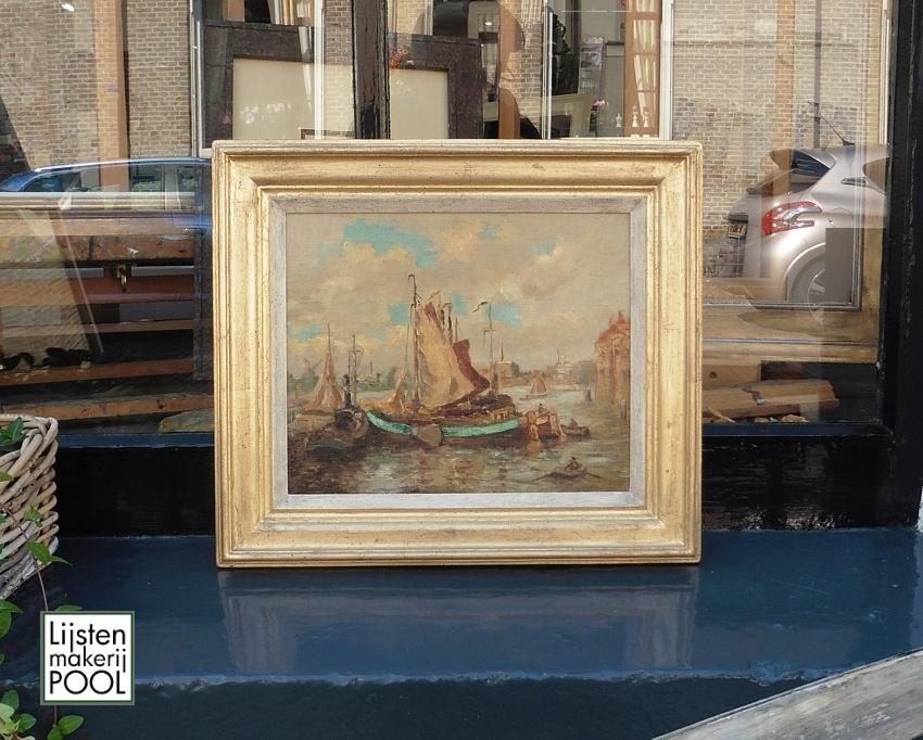 Maritiem schilderij van Evert Moll voorzien van handgekleurde vergulde atelierlijst Lijstenmakerij Pool