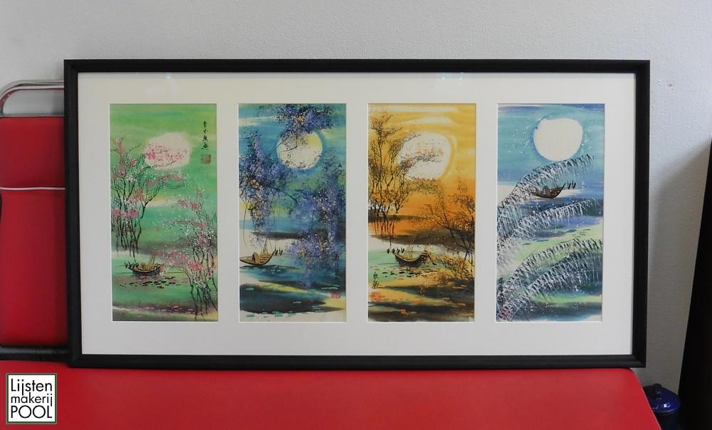 Chinese schilderingen 4 jaargetijden ingelijst in 4-luik passe-partout Lijstenmakerij Pool Elburg