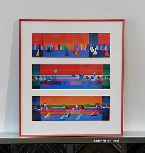3 Kunstkaarten Kees Kooy ingelijst