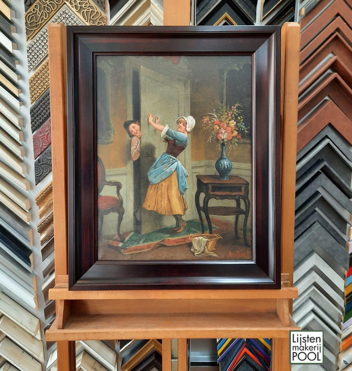Antiek schilderij voorzien van bijpassende omlijsting voor Doctor Decorum.