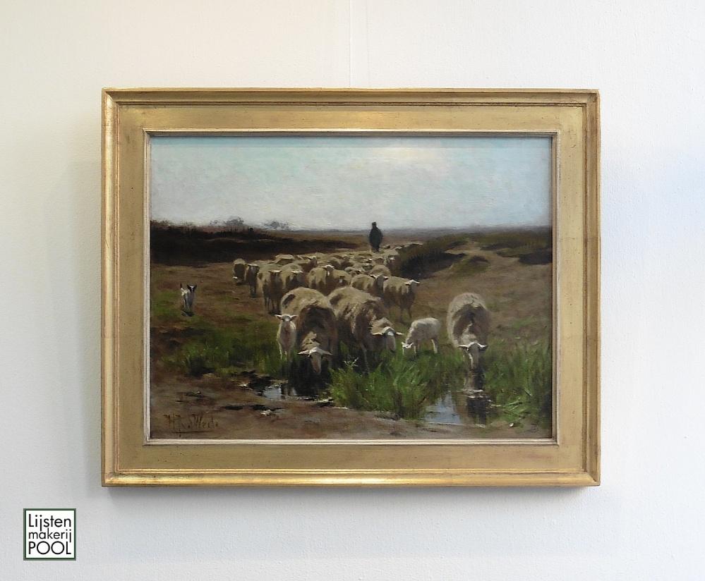 Fraai schilderij van Herman Johannes van der Weele in een handgekleurde vergulde atelierlijst Lijstenmakerij Pool Elburg