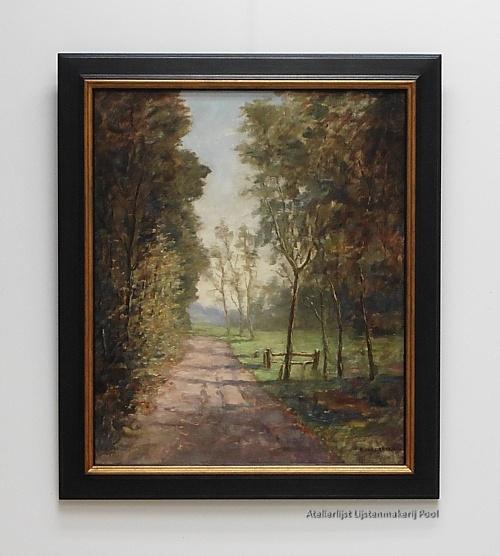 Schilderij Emanuel v.d. Weg in atelierlijst (Larense School)