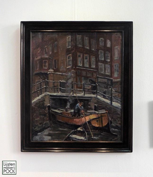 Paneel Hendrik Spetter (1902-1985) in handgekleurde atelierlijst Lijstenmakerij Pool.