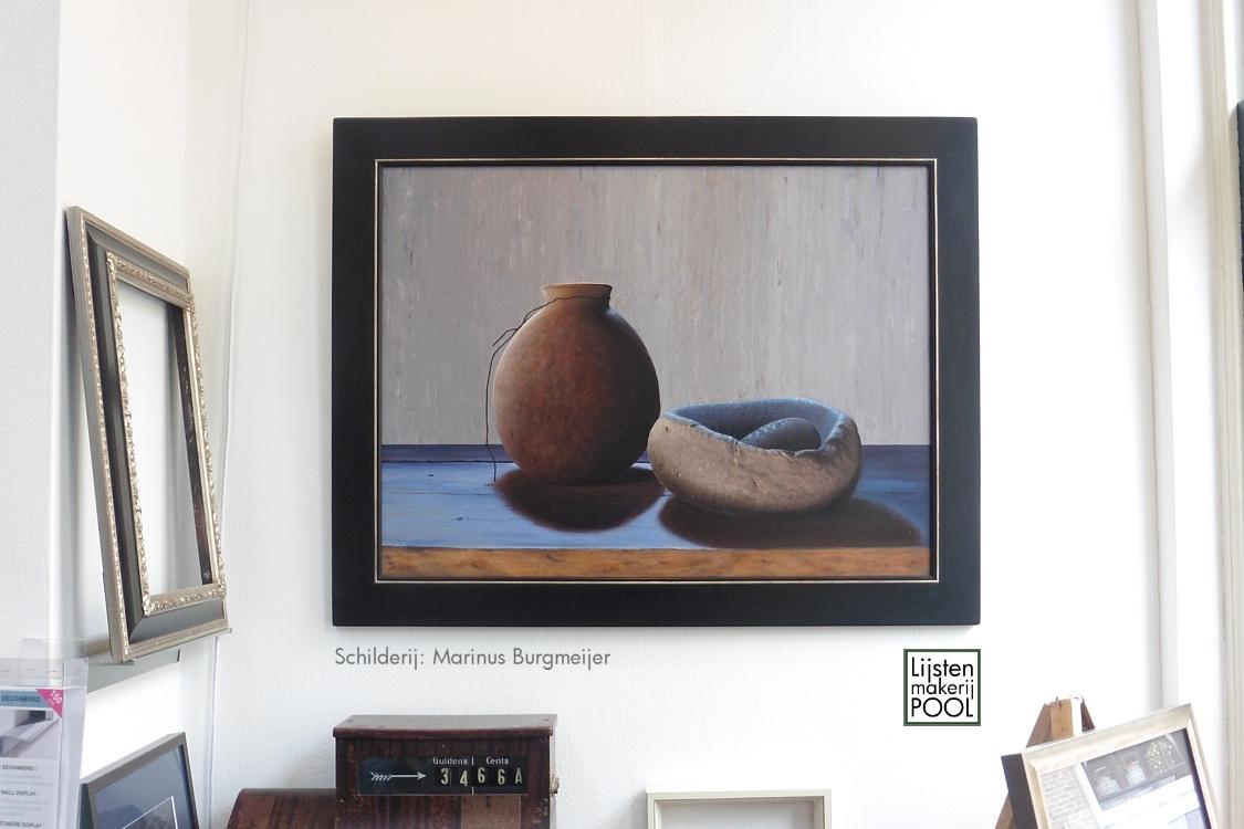 Schilderij Marinus Burgmeijer ingelijst in handgekleurde atelierlijst Lijstenmakerij Pool Elburg