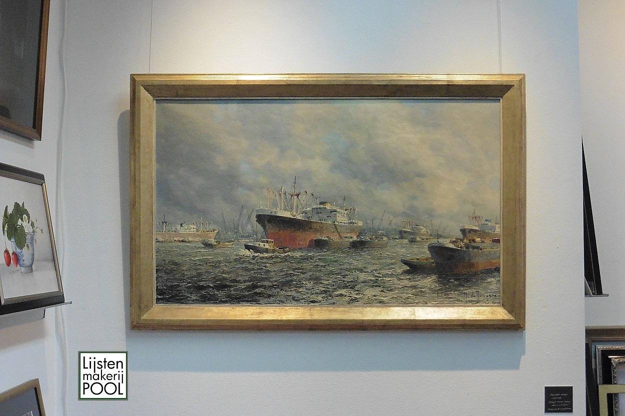 Handgekleurde atelierlijst uit atelier Lijstenmakerij Pool Elburg voor havengezicht Rotterdam van Marius de Jongere