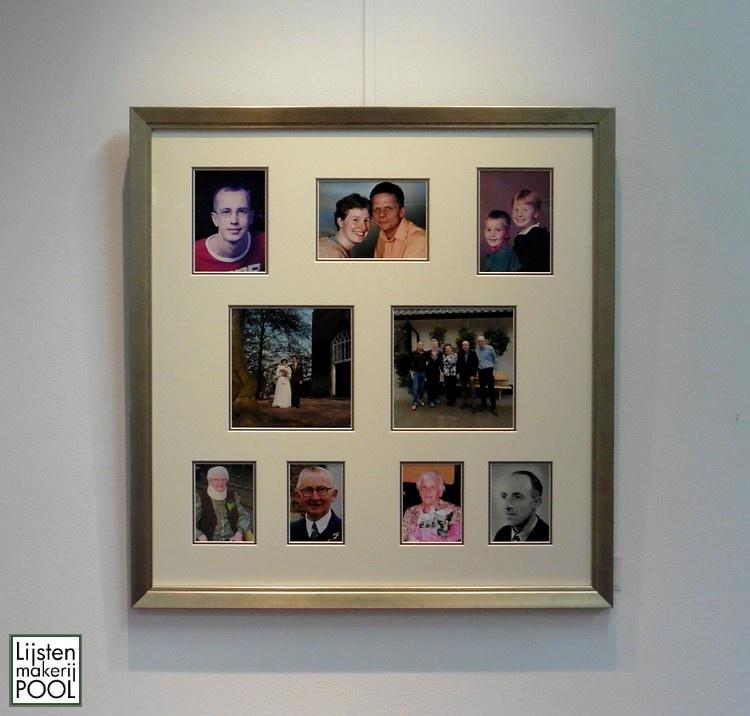 Familie foto collage passe-partout. Dubbel uitgevoerd en ingelijst