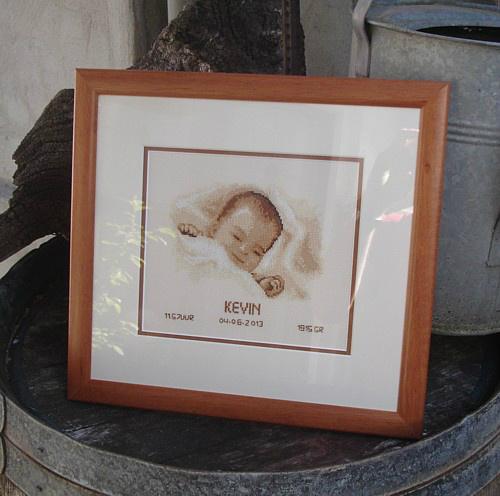 Geboorte borduurwerk ingelijst