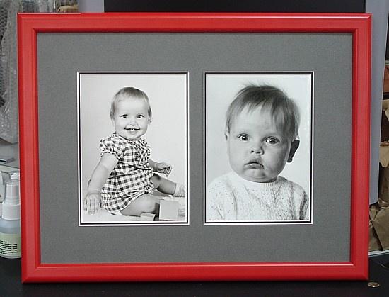 Foto's ingelijst in dubbel passe-partout met 2 uitsnedes