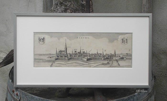 Aanzicht Elburg gravure uit ca. 1650. Volledig conserverend