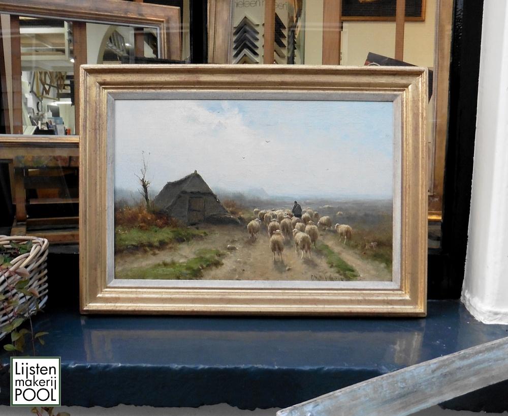 Een mooi schilderij van de hand van Cornelis Westerbeek uit 1902. Gereinigd en voorzien van een handgekleurde lijst uit eigen atelier Lijstenmakerij Pool Elburg.