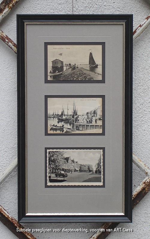 Antieke ansichtkaarten van Elburg ingelijst
