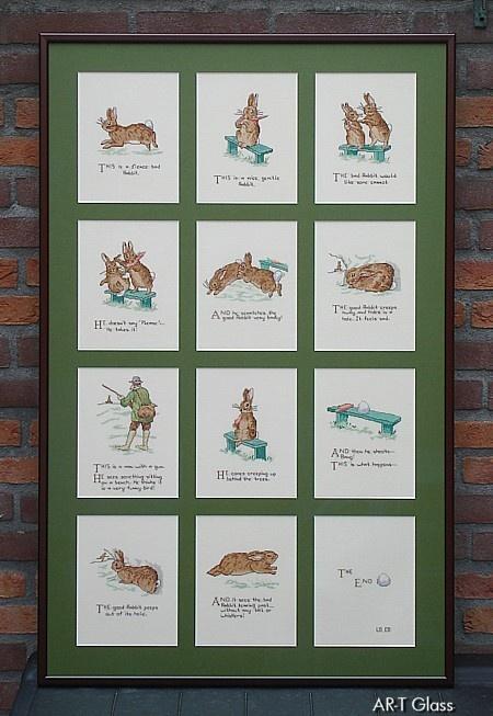 Collage van 12 borduurwerken van Peter Rabbit in 1 lijst