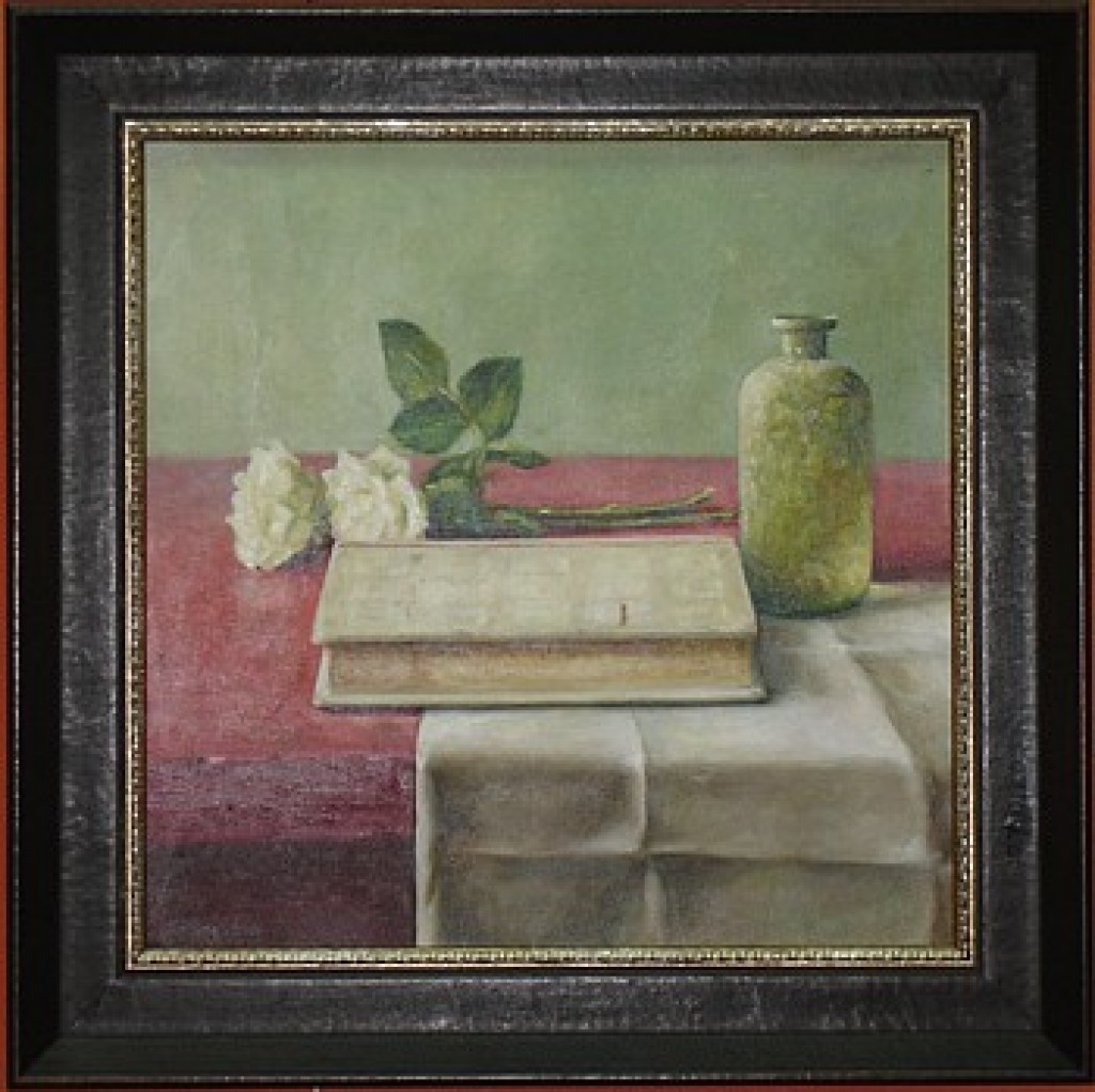 Schilderij bijbel met roos
