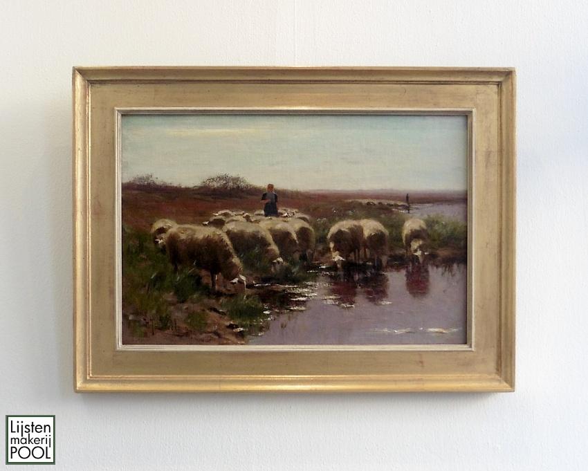 Fraai schilderij van Herman Johannes van der Weele in een handgekleurde vergulde atelierlijst van Lijstenmakerij Pool Elburg