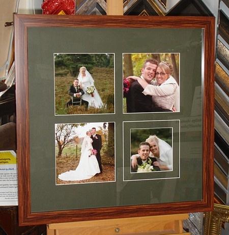 Collage trouwfoto's. 1 Foto met v-groef passend gemaakt