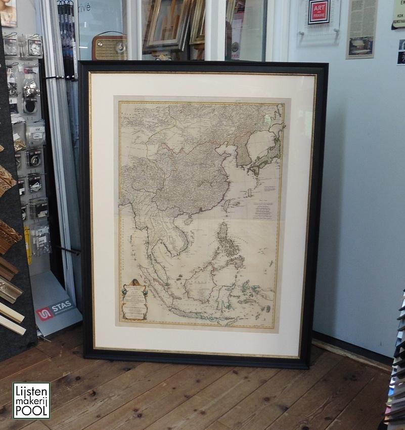 Grote antieke landkaart uit 1786 geheel op conserverend niveau ingelijst