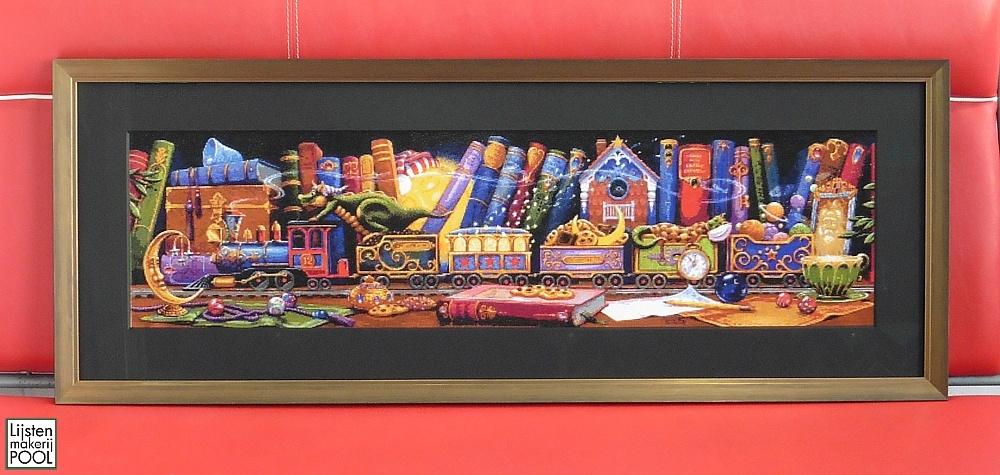 Borduurwerk Train of dreams ingelijst. Extra dik passe-partout en Artglas. Lijstenmakerij Pool Elburg